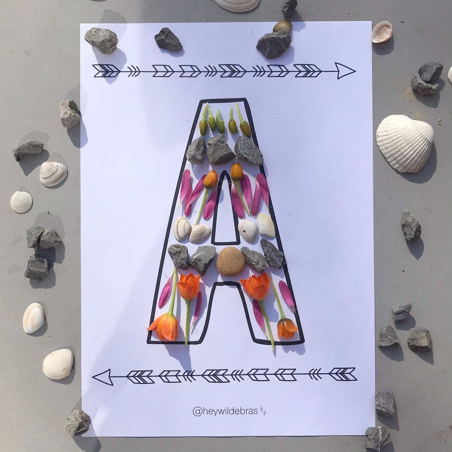 alfabet flash card A