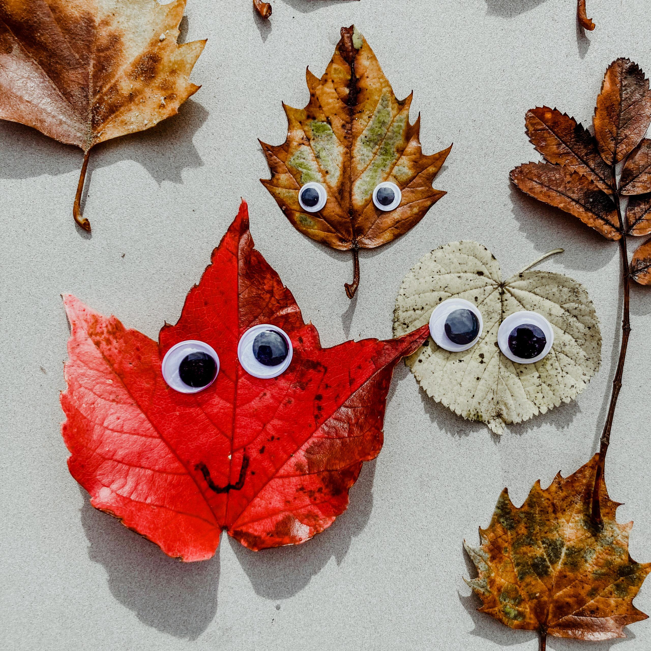 herfst knutsel blaadjes googly eyes